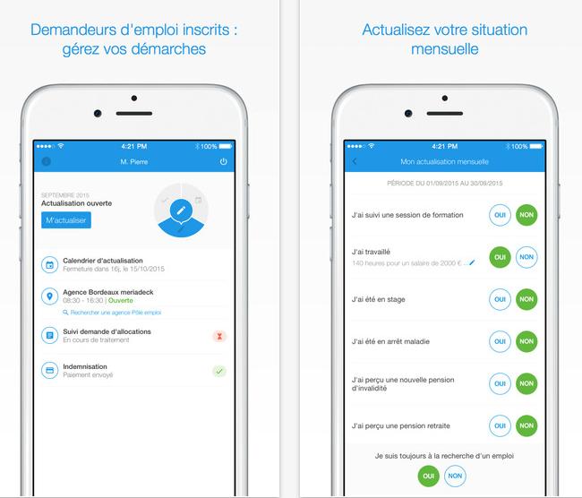 captures d'écran App PE